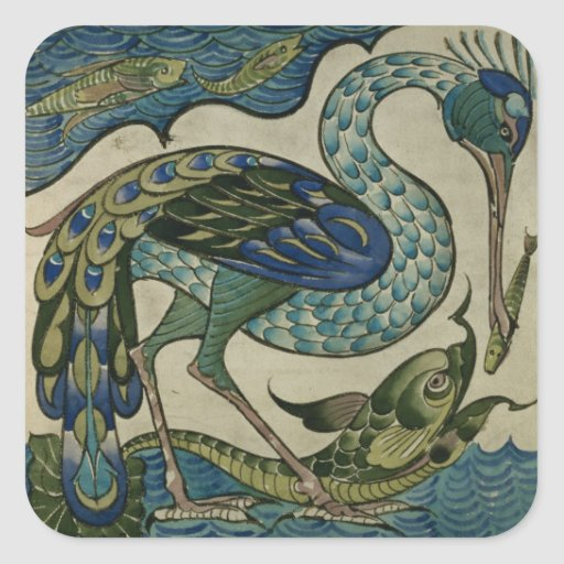 Tile design of heron and fish, by Walter Crane Square Stickers