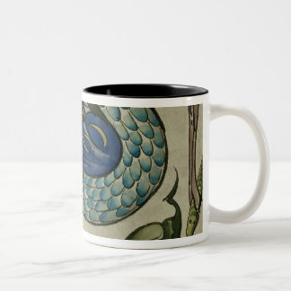 Tile design of heron and fish, by Walter Crane Two-Tone Coffee Mug