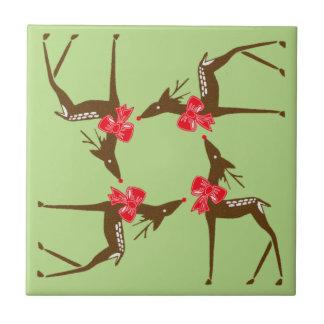 Tile Holiday Reindeer Pattern Rudolph Christmas