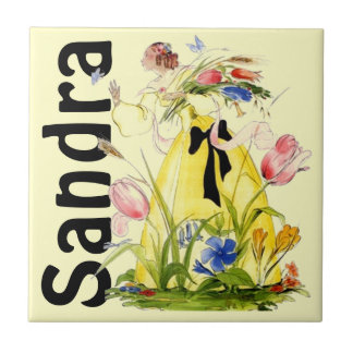 Tile Lady Wild Flowers Chases Butterfly Personal