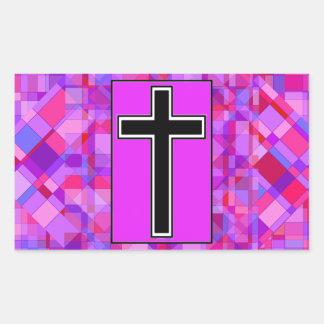 Tile Mosaic and The Cross Rectangular Sticker