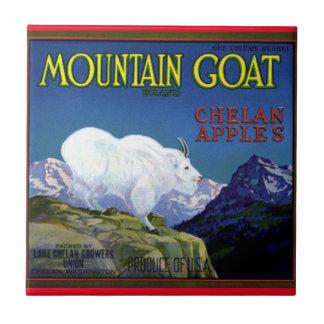 Tile Mountain Goat Apples Vintage Produce Label