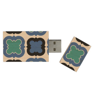 Tile Pattern blue Wood USB 3.0 Flash Drive