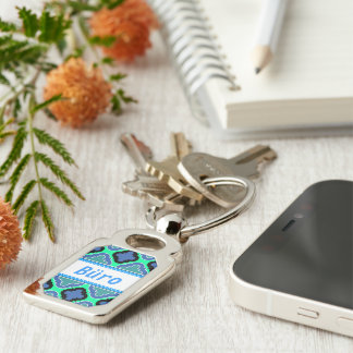 Tile Pattern blue Silver-Colored Rectangle Key Ring