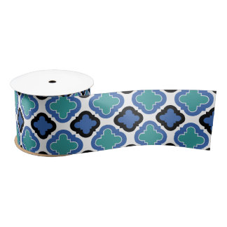 Tile Pattern blue Satin Ribbon