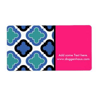 Tile Pattern blue Shipping Label