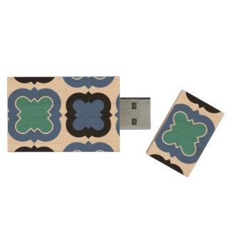 Tile Pattern blue Wood USB 3.0 Flash Drive