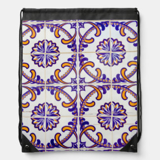 Tile pattern close-up, Portugal Drawstring Bag