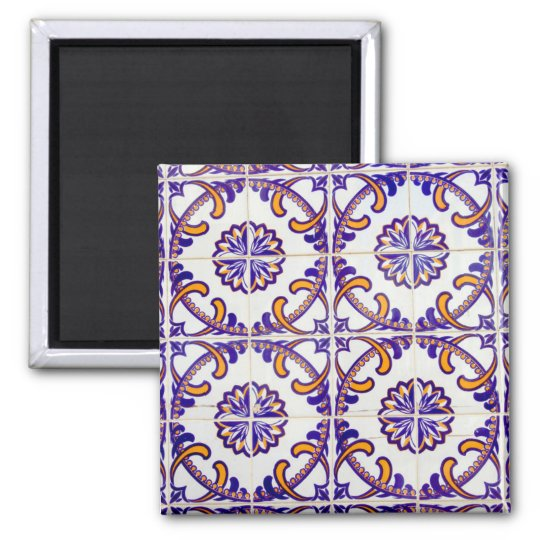 Tile pattern close-up, Portugal Square Magnet