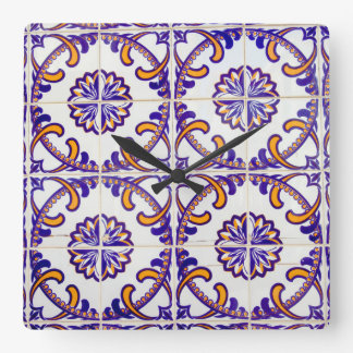 Tile pattern close-up, Portugal Square Wall Clock