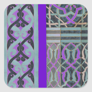 Tile pattern custom background colour square sticker