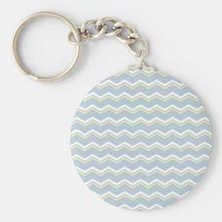 Tile pattern with white and yellow zig zag print keychain