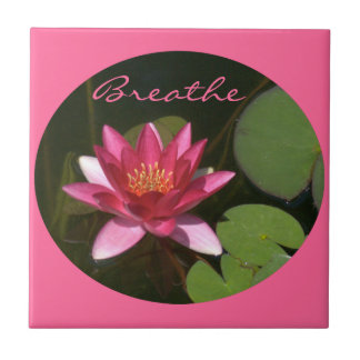 """Tile, Pink Lotus Blossom, Round Image, """"Breathe"""" Small Square Tile"""