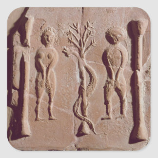 Tile representing Adam and Eve, Roman Square Sticker