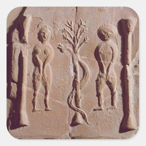 Tile representing Adam and Eve, Roman Square Sticker