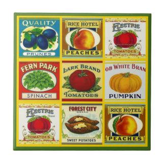 Tile Trivet Vintage Kitchen Canned Goods Labels