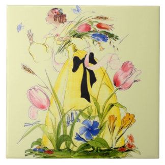 Tile Vintage Chasing Butterfly Garden Woman Floral