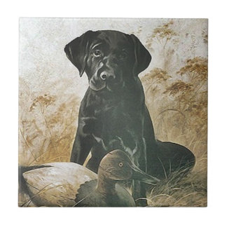 Tile Vintage Hunting Dog puppy Lab Retriever Decoy