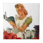 Tile Vintage Kitchen Cook Retro Stylish Lady Chef