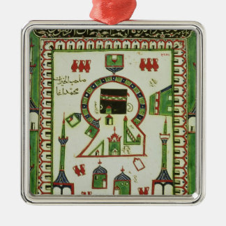 Tile with a representation of Mecca Christmas Ornament