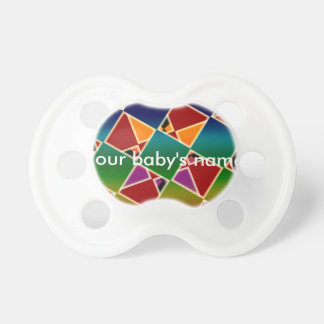 Tiled Colorful Squared Pattern Baby Pacifier. Dummy