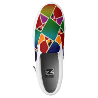 Tiled Colorful Squared Pattern ZIPZ Slip On Shoes