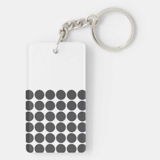 Tiled DarkGrey Dots Rectangular Acrylic Key Chain