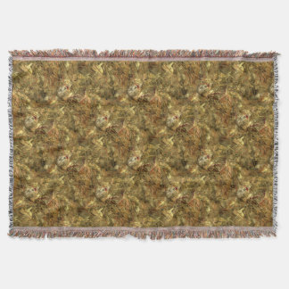 Tiled Explosion of Gold & Brown Throw Blanket