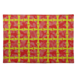 Tiled Faux Gold Byzantine Cross Red Background Place Mats