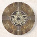 Tiled Fractal Pentacle Sandstone Coaster