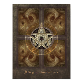 Tiled Fractal Pentacle Small Invitation