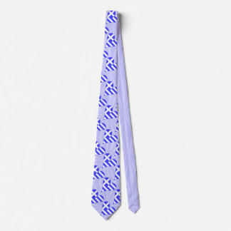Tiled Greek Flag Heart Funky Blue Squiggly Squares Tie