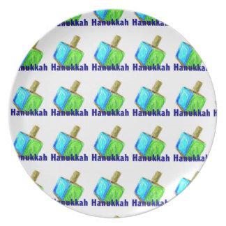 Tiled Hanukkah Dreidels Plate