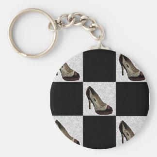 Tiled Heels Basic Round Button Key Ring