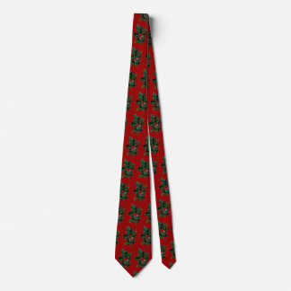 Tiled Holly Christmas Red Tie