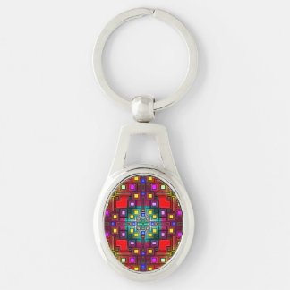 Tiled Modern Decorative Abstract Silver-Colored Oval Key Ring