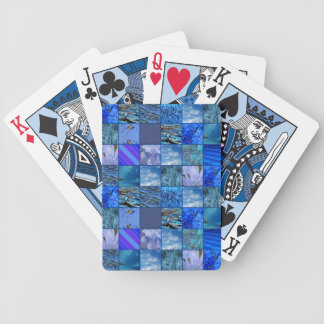 Tiled Mosaic in Blues Photography & Design Pattern Bicycle Playing Cards