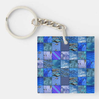 Tiled Mosaic in Blues Photography & Design Pattern Double-Sided Square Acrylic Key Ring