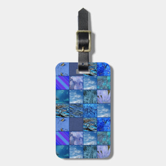 Tiled Mosaic in Blues Photography & Design Pattern Luggage Tag