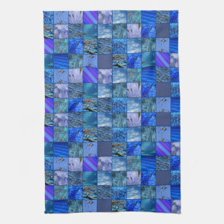 Tiled Mosaic in Blues Photography & Design Pattern Tea Towel