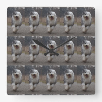 Tiled Old English Sheepdog Clock - Run Dog!