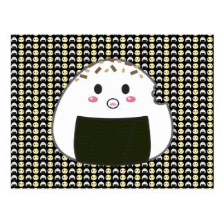 Tiled Onigiri and Chick in Black Postcard