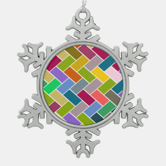Tiled Pattern Colourful Mosaic Pewter Snowflake Decoration