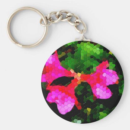 Tiled Pink Azalea Flowers Key Chains