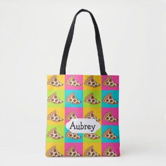 Tiled pizza slices design tote bag