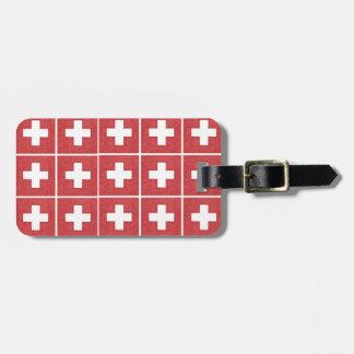 Tiled Swiss flag luggage tag