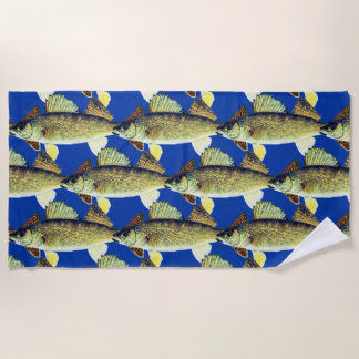 Tiled Walleye Pattern Beach Towel