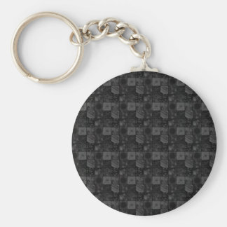Tiles in Gray Basic Round Button Key Ring