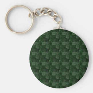 Tiles in Green Basic Round Button Key Ring