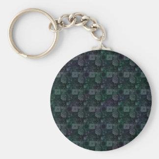 Tiles in Mottled Blue Basic Round Button Key Ring